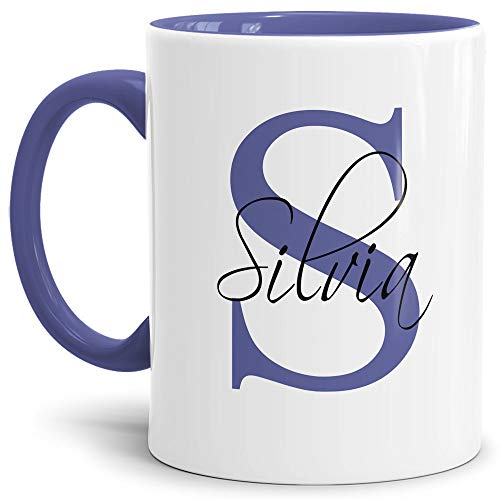 Tassendruck Edle personalisierte Namens-Tassen mit Ihrem Anfangsbuchstaben und Namen - Namenstasse/Geschenk-Idee/Geburtstags-Geschenk/Namenstag- Innen & Henkel Cambridge Blau