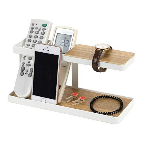 Soporte de teléfono de madera con base de madera para relojes, gafas, accesorios, cartera de escritorio, estante de almacenamiento, mesita de noche, organizador de escritorio de almacenamiento