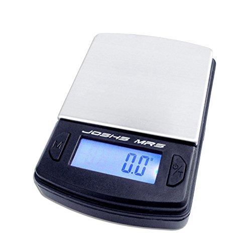 Joshs MR5 Digitalwaage 500 Feinwaage die in 0,1 g Schritten präzise 500g oder 0,5 kg wiegt, Taschenwaage, Münzwaage, gramm, anzeige