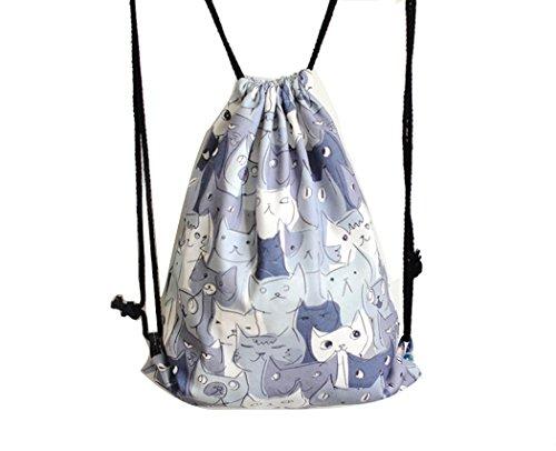 Amazhu Drawstring Backpack Foldable Cinch Sack Basic Sackpack Gym Tote Dance Bag for Swimming Shopping Sports Women Men Boys Girls (Cat)