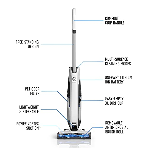 Hoover ONEPWR Evolve Pet Cordless Small Upright Vacuum Cleaner, Lightweight Stick Vac, For Carpet and Hard Floor, BH53420PC, White