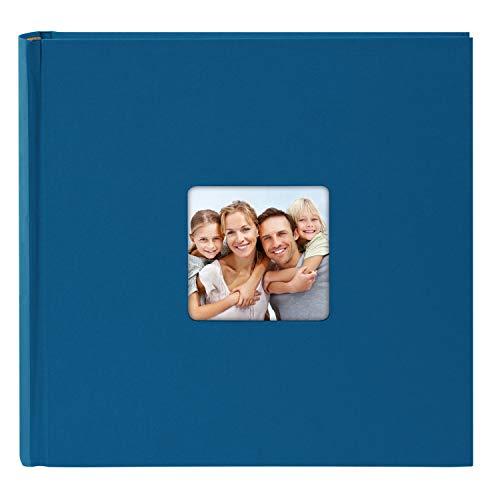 goldbuch 31094 Fotoalbum Living, Erinnerungsalbum mit Bildausschnitt, Fotobuch mit 100 cremeweißen Seiten mit Pergamin Trennblätter, Foto Album zum Einkleben in Leinenoptik, ca. 30x30 cm, Blau