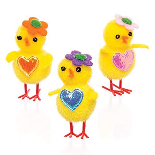 Baker Ross Pollitos de pompón (Paquete de 6) Para decorar manualidades de Pascua infantiles