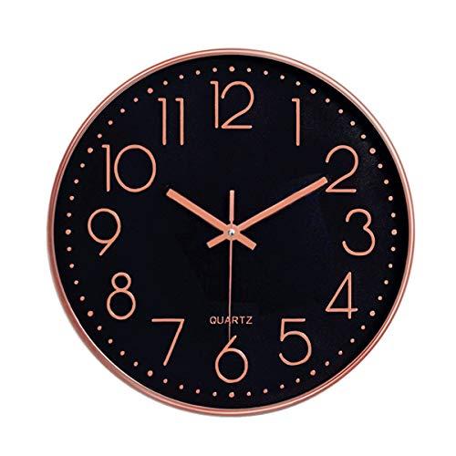 Foxtop 30cm Modern Quartz Lautlos Wanduhr Schleichende Sekunde ohne Ticken (Schwarzes Zifferblatt, Roségold Rahmen, 12 Zoll, Arabisch Ziffer)