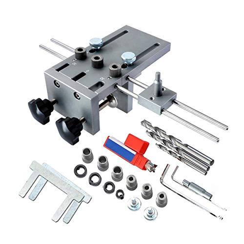 DressU Compacto 3 en 1 cajeadoras Jig 6/8 / 10 mm Guía de perforación de Madera Localizador Ajustable Pasador Jig Kit for DIY Herramienta de la carpintería Durabilidad Cómodo (Color : Silver)