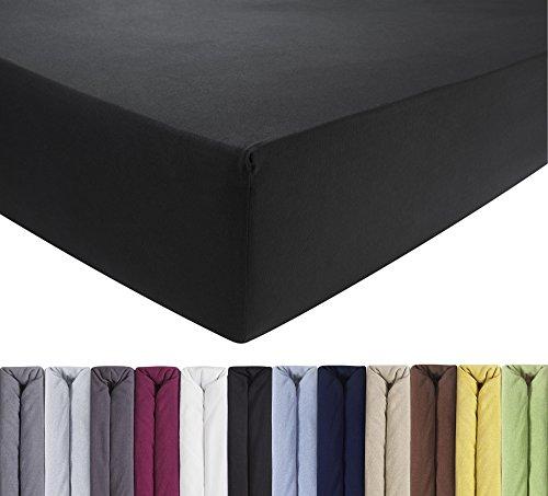 ENTSPANNO Jersey-Luxus-Spannbettlaken 140 x 200 | 160 x 220 cm für Wasser- und Boxspringbett in Schwarz aus gekämmter Baumwolle. Spannbetttuch mit Einlaufschutz bis 40 cm hohe Matratzen
