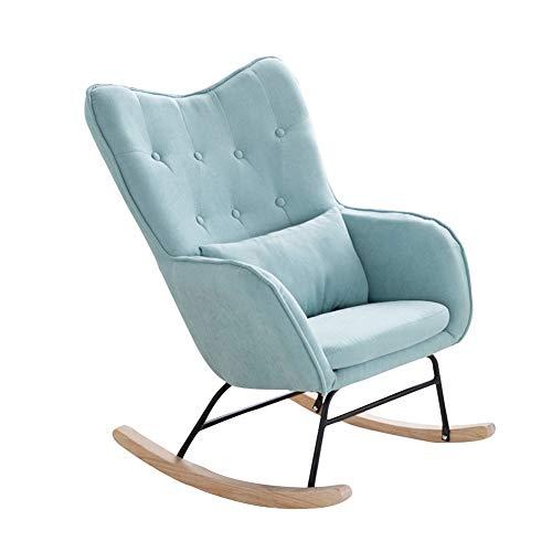 LIXIONG-Poltrone Dondolo Interno Poltrona Sedie a Sdraio con/Pad Lombare poltrone gravità Zero Sedile Imbottito per Balcone Portico, 6 Colori (Color : Blue-a, Size : 64x81x95cm)