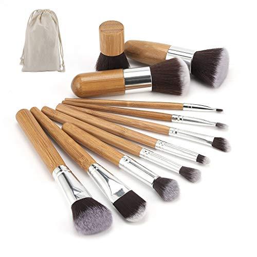 Ogquaton 11pcs maquillage pinceaux en bambou naturel mélange outil de pinceau ensemble élégant et populaire