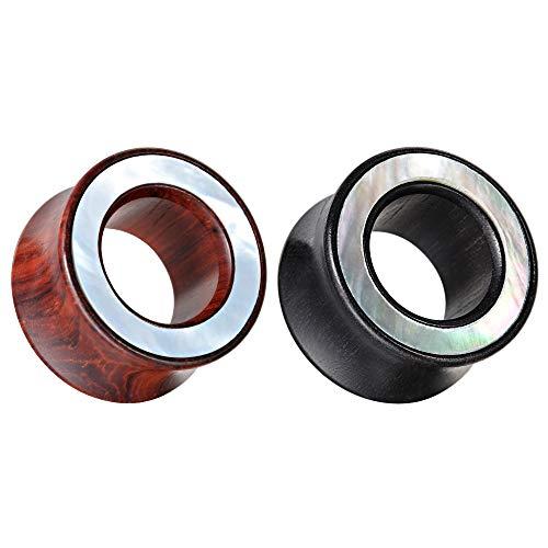 COOEAR 2 paia di calibri per le orecchie in legno Doppio tunnel per le orecchie svasato Tappi eleganti Conchiglia Orecchini stile cerchio Barella.