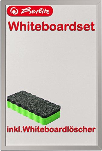Herlitz 10524627 Whiteboard und Magnettafel, 40 x 60cm / Kombi-Set (+ Löscher, grün)
