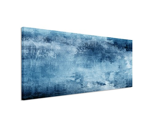 Sinus Art 150x50cm Wandbild – Farbe Blau Petrol Panoramabild Wandbild auf echter Leinwand in sehr hoher Qualität - Abstrakt Acryl mit Pinsel IV