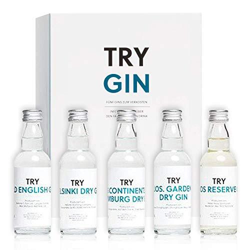 TRY Gin Geschenk-Set I Bekannt aus Die Höhle der Löwen I Probier-Set I Geschenk für Männer I Geschenk für Frauen I Tasting-Set mit Premium-Gins