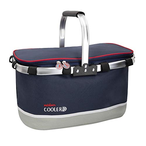 Aktive - Kühltasche für Lebensmittel, tragbar, mit Griffen, 30 l, isoliert, für Picknick, Strand, Camping, Grillen, kleine Kühlbox für Camping, Essen und Getränke
