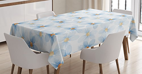Ambesonne Watercolor Flower Tablecloth, Pastel Floral Pattern Print Chamomiles and Daisies Nature Art, Dining Room Kitchen Rectangular Table Cover, 52