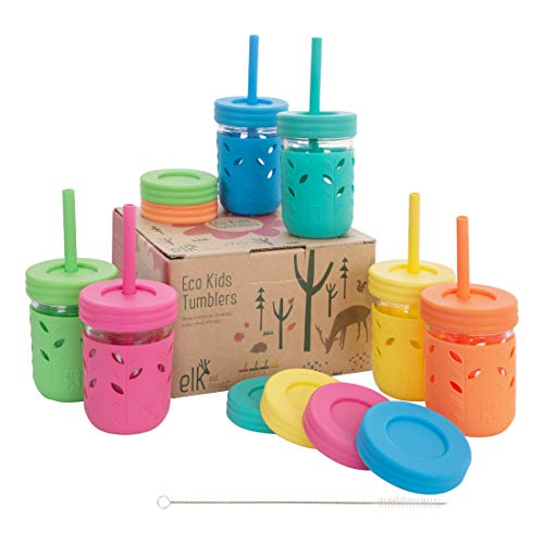 Elk and Friends Kids Cups/Toddler cups with Silicone Straws - Glass Mason Jars 8 oz with Straws + Straw Lids + Leak Proof Regular Lids - Spill Proof cups for kids, Sippy Cups for Toddlers