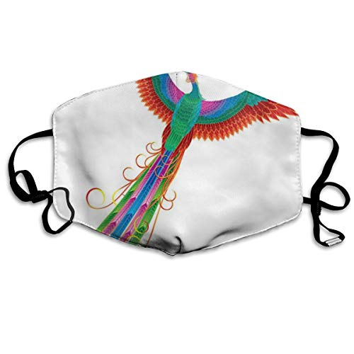 Fashion Comfortable Windproof Mask,Chinese Ethnic Bird Rising Eternal Life Symbol Solar Bird Boho Surreal Artsy Design,Printed Facial Decorations For Adult Kid