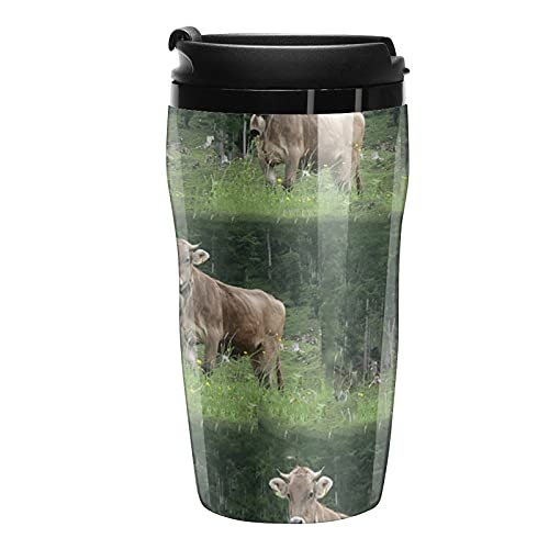 Botella de agua Vaca viajes tazas de café tazas con tapa