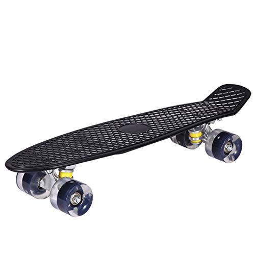 LED Light Up Wheels Street Long Skate Board Mini Cruiser Skateboard Longboard With Multiple Colors For Adult Children (Color : Black)