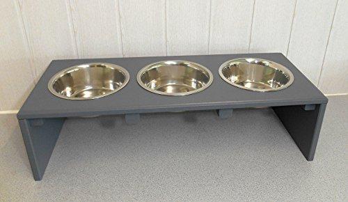 Futternapf / Hundenapf für Ihren Vierbeiner, tolle Futterbar mit 3 Edelstahlnäpfen mit je 750 ml. Handgefertigtes Hundezubehör und Tierbedarf. Lackierung in anthrazit! (Sp6))