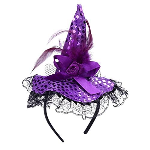 IRYNA, cappello da strega per Halloween, con piume, per adulti, accessorio per feste in maschera per Halloween