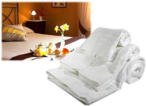 Menitashop Juego Tris toallas toalla ducha Viso y invitados para Albergo B & B 100% algodón