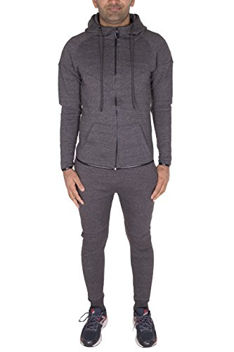 NOROZE Boys Kids Skinny Fit Panel Tracksuit Hooded Jogging Full Set Charcoal 7 8 Years