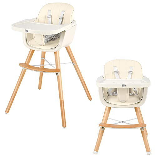 BABY JOY Convertible Baby High Chair, 3 in 1 Wooden Highchair/Booster/Chair with Removable Tray, Adjustable Legs, 5-Point Harness, PU Cushion and Footrest for Baby, Infants, Toddlers (Beige)