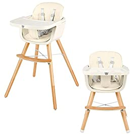 BABY JOY Convertible Baby High Chair, 3 in 1 Wooden Highchair/Booster/Chair with Removable Tray, Adjustable Legs, 5-Point Harness, PU Cushion and Footrest for Baby, Infants, Toddlers