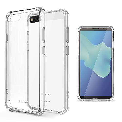 Moozy Transparent Silikon Hülle für Huawei Y5 2018, Y5 Prime 2018 - Stoßfest Klar TPU Hülle Handyhülle Schutzhülle