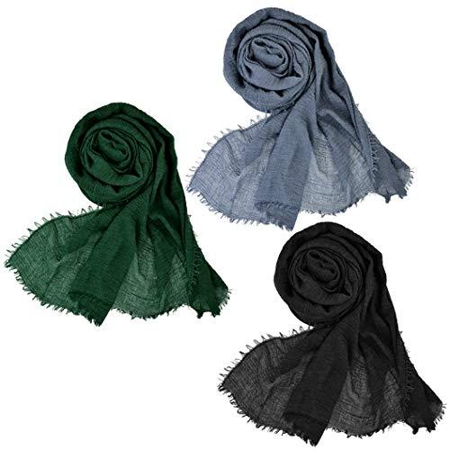 Wobe 3Pcs Women Soft Cotton Hemp Scarf Shawl Long Scarves, Travel Sunscreen (Mixed 3 Color G)