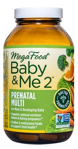MegaFood Baby & Me 2 Prenatal Vitamins - Postnatal and Prenatal Multivitamin for Women with Biotin, Folic Acid, Choline, and More - Non-GMO - 120 Tablets