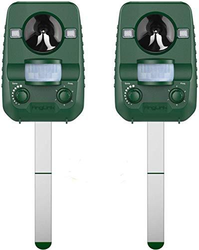 AngLink Version 2020 Solar 2er Pack Katzenschreck Doppelter Ultraschall abwehr mit Batteriebetrieben und Blitz Empfindlichkeit Wetterfest Hundeschreck Tiervertreiber