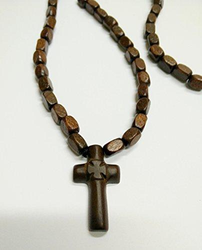 Beidseitig Christian-orthodoxe griechisch Religiöse rozary Halskette mit Holz Kreuz–Kruzifix/11