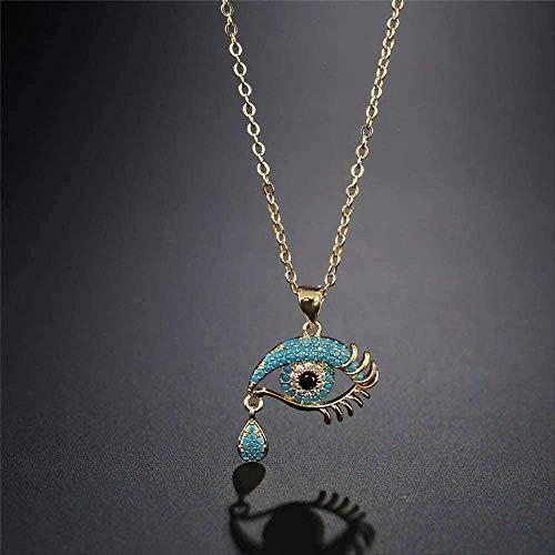 Yiffshunl Necklace Colorful Zircons Necklace Women Copper Link Chain Evil Eye Pendant Necklace Bijoux Femme Necklace Gift