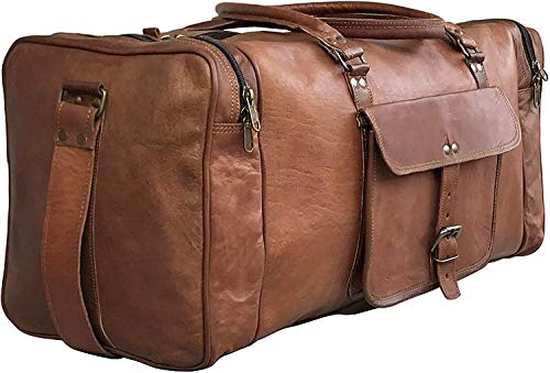 25 Inch Large Leather Duffel Travel Duffle Gym Sports Overnight Weekender Bag (brown)