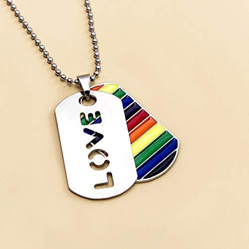 WDBUN Collar Colgante Nuevos Collares para Hombre, Colgante con Etiqueta de Perro arcoíris, Collar Gay, Collares de Cadena con Cuentas de Hoja de Amor para joyería de niño Navidad Regalo