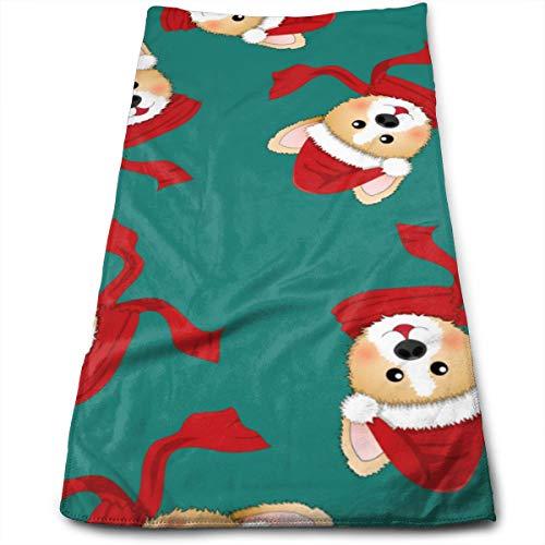 YudoHong Corgi Santa Claus con pañuelo Rojo sobre Toallas de Mano de Microfibra Verde para baño, paño de Cocina, té, Cocina, Gimnasio, Yoga, Cabello, Cara