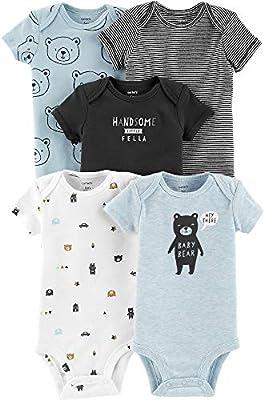 Carter's Baby Boys' 5-Pack Short-Sleeve Original Bodysuits (Blue Bear, 12 Months)