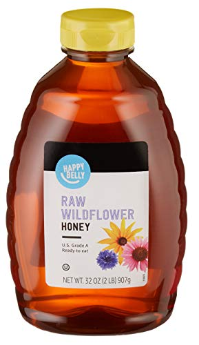 Amazon Brand - Happy Belly Raw Wildflower Honey, 32 oz