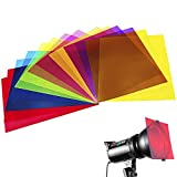 14 Pack Colored Overlays Transparency Color Film Plastic Sheets Correction Gel Light Filter Sheet, 8.5 by 11 Inch,7 Assorted Colors