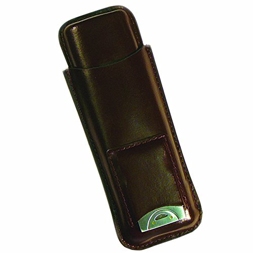 Prestige Import Group - Leather 2 Cigar Case with Stainless Guillotine Cutter - Color: Brown