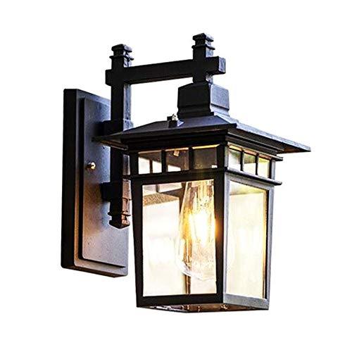 Vintage Gartenlampe Außen-Wandleuchte Schwarz Aluminium Retro Rustikal Wandlampe Aussen mit Glas Lampenschirm Antik Aussenleuchten E27 Licht Wasserdichte IP23 Design Patio Foyer Balkon 18*23*31CM