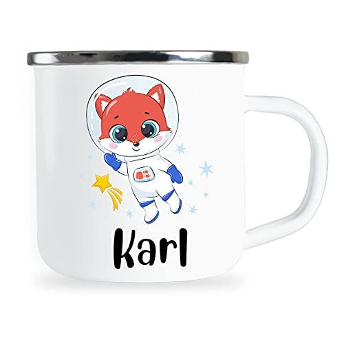 Taza para niños personalizada con nombre y lindo zorro, diseño de astronauta esmaltada, regalo de cumpleaños