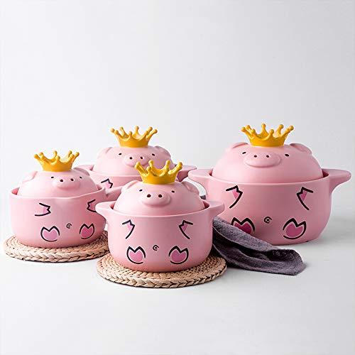 HGFDSA Keramik Mini Runder Auflauf, Rosa Schwein Auflauf Mit Deckel Für Haushaltsküchen Als Suppentopf Milchtopf Geschenkbox, 5 Größe,Small