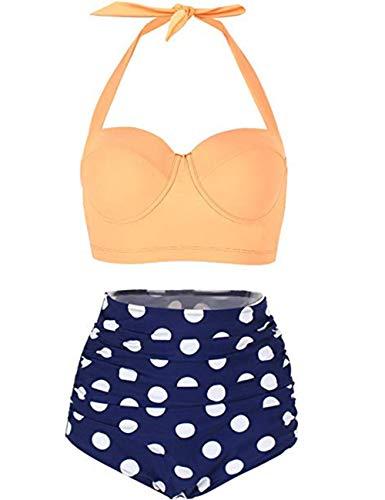 FeelinGirl 50er Damen Frauen Badeanzug Bademode Rockabilly Bikini Set-Hohe Taillen-Neckholder-Bauchweg, Gr.-XXL(EU 40), Gelb