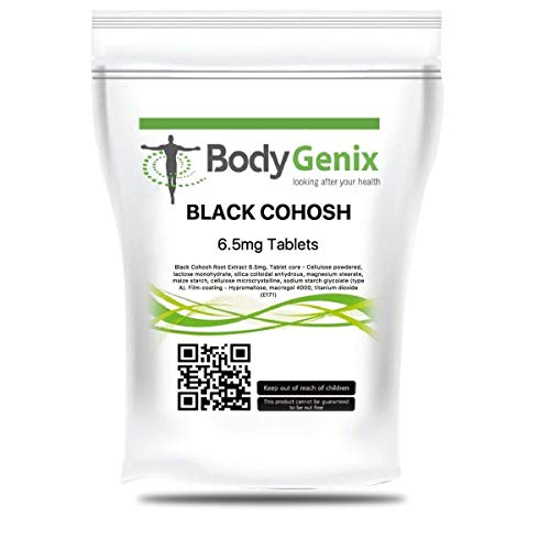Bodygenix Black Cohosh supplement | tablets for pre-menstruation and menopause | support mood and steady nerves | 6.5mg 120 Tablets