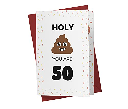 Funny 50th Birthday Card – Funny 50 Years Old Anniversary Card – Happy 50th Birthday Card – Hilarious 50th Birthday Card – With A Red Envelope
