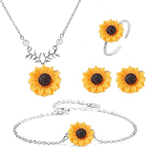 4 Piezas de Collar de Girasol Conjuntos de Joyas de Aleación de Mujer con Oreja Perno Y Anillo Pulsera Colgante Collar de Cadena de Joyería Regalos para Mamá Hija Mujeres Niñas