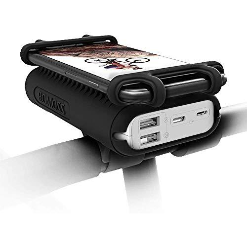 ROMOSS 10000 mAh Power Bank con Porta Cellulare Bici USB C Caricatore Portatile 2 Ingressi Supporto Cellulare 4.5-6' per Bici, Moto, scooter e Altro