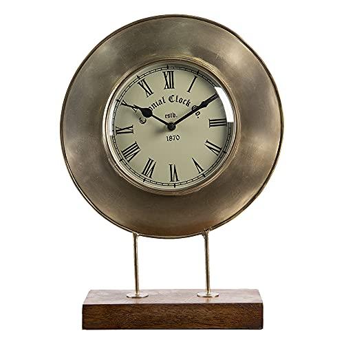 Clayre & Eef Reloj de mesa 6KL0661 27 x 9 x 36 cm / 1 pila AA – marrón hierro / vidrio / madera reloj de pie pequeño reloj analógico